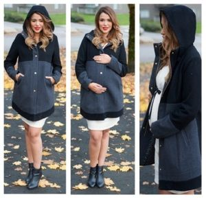 Colorblock maternity coat
